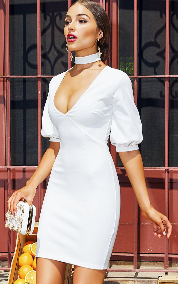 White Neck Tie Puff Sleeve Bodycon Dress