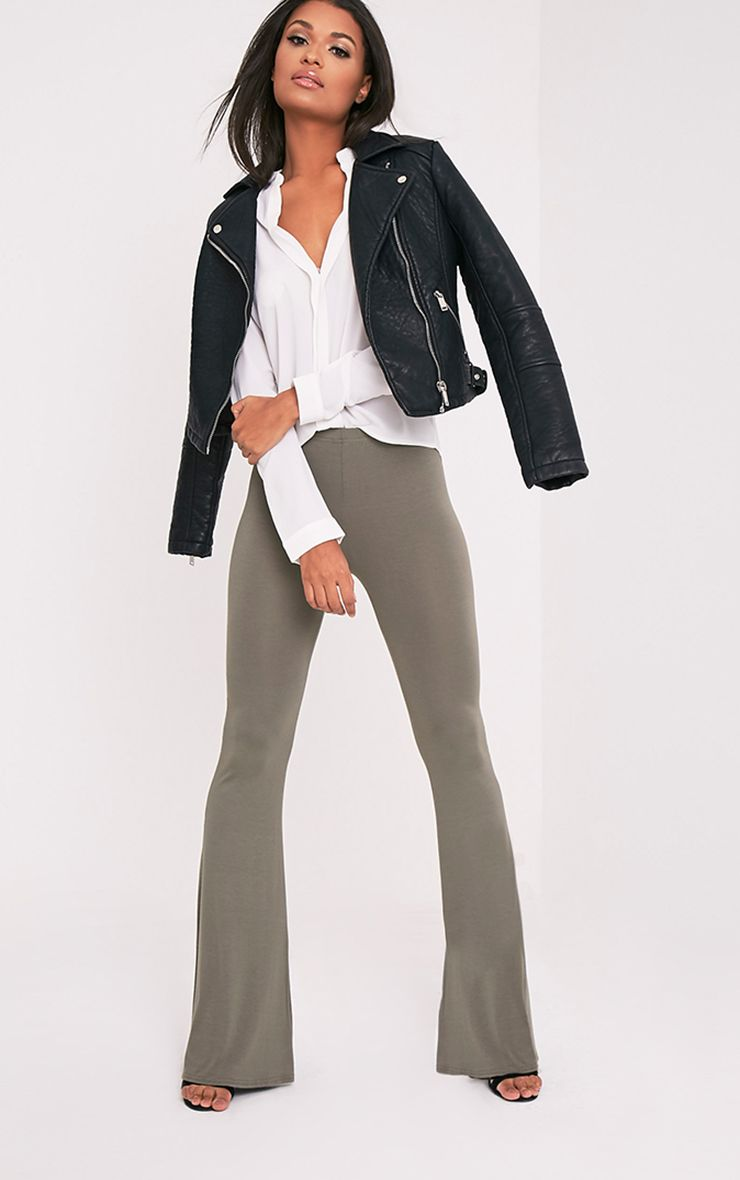 Basic Khaki Jersey Flared Trousers