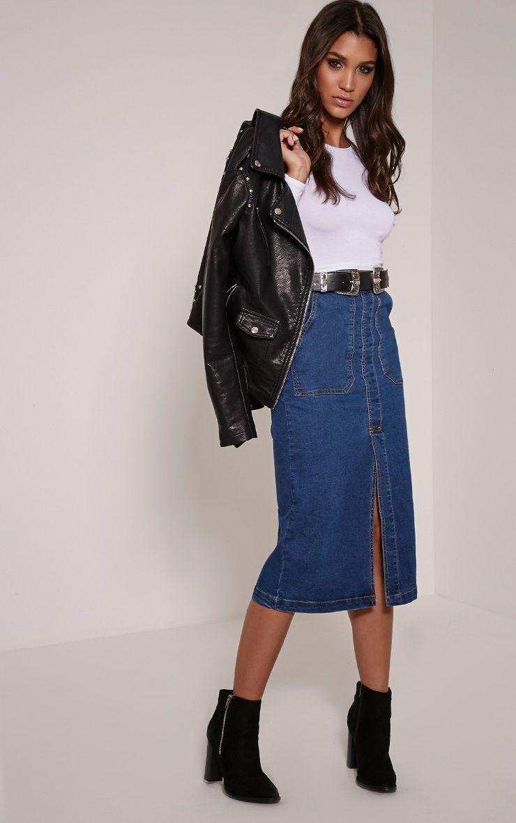 Harlyn Blue Dark Wash Denim Midi Skirt 1