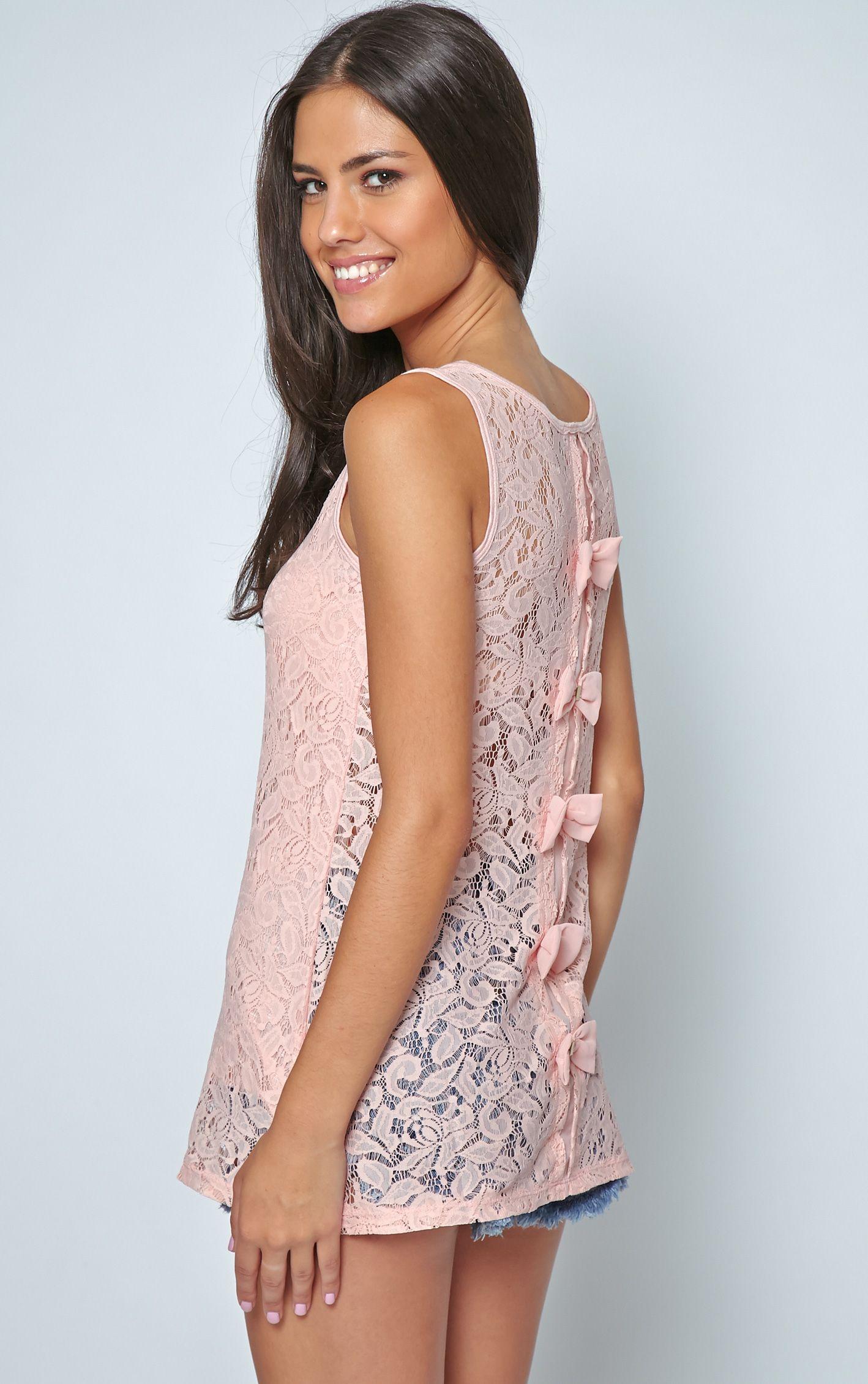 Leia Pink Lace Crochet Longline Bow Vest 1