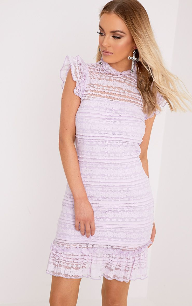 Clariya Lilac Frill Neck Ruffle Layer Lace Bodycon Dress