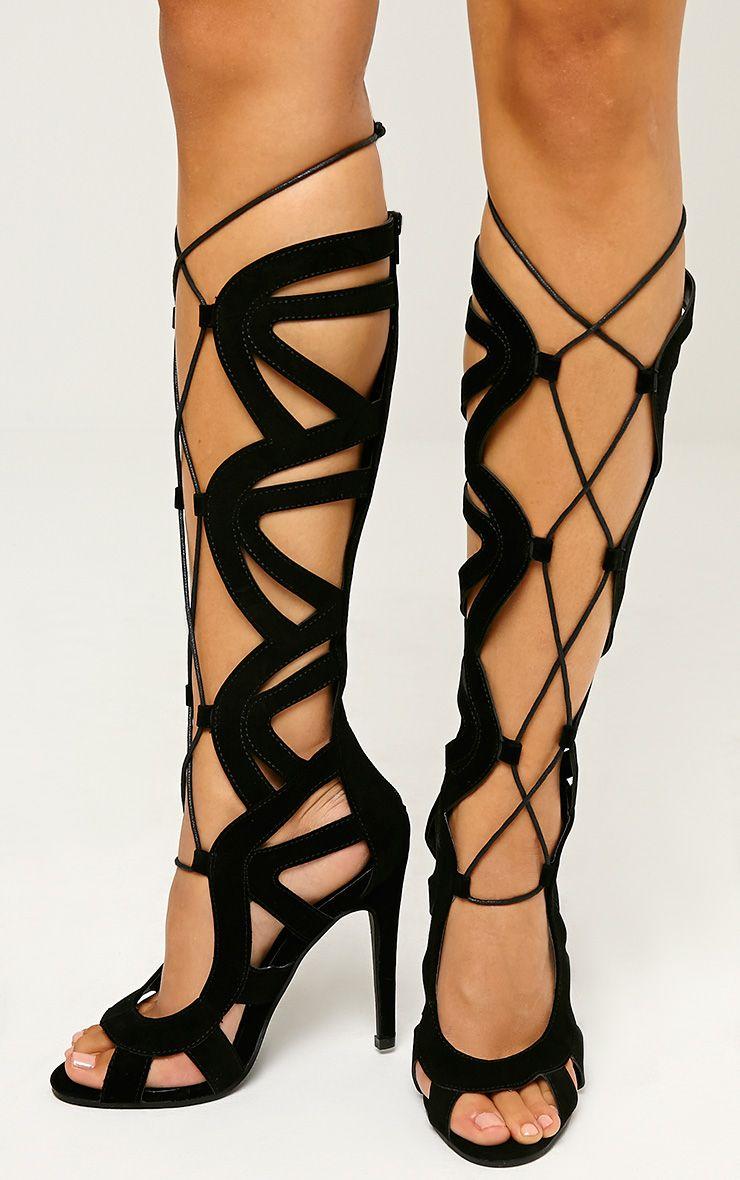 Vogue Black Faux Suede Cut Out Boots 1