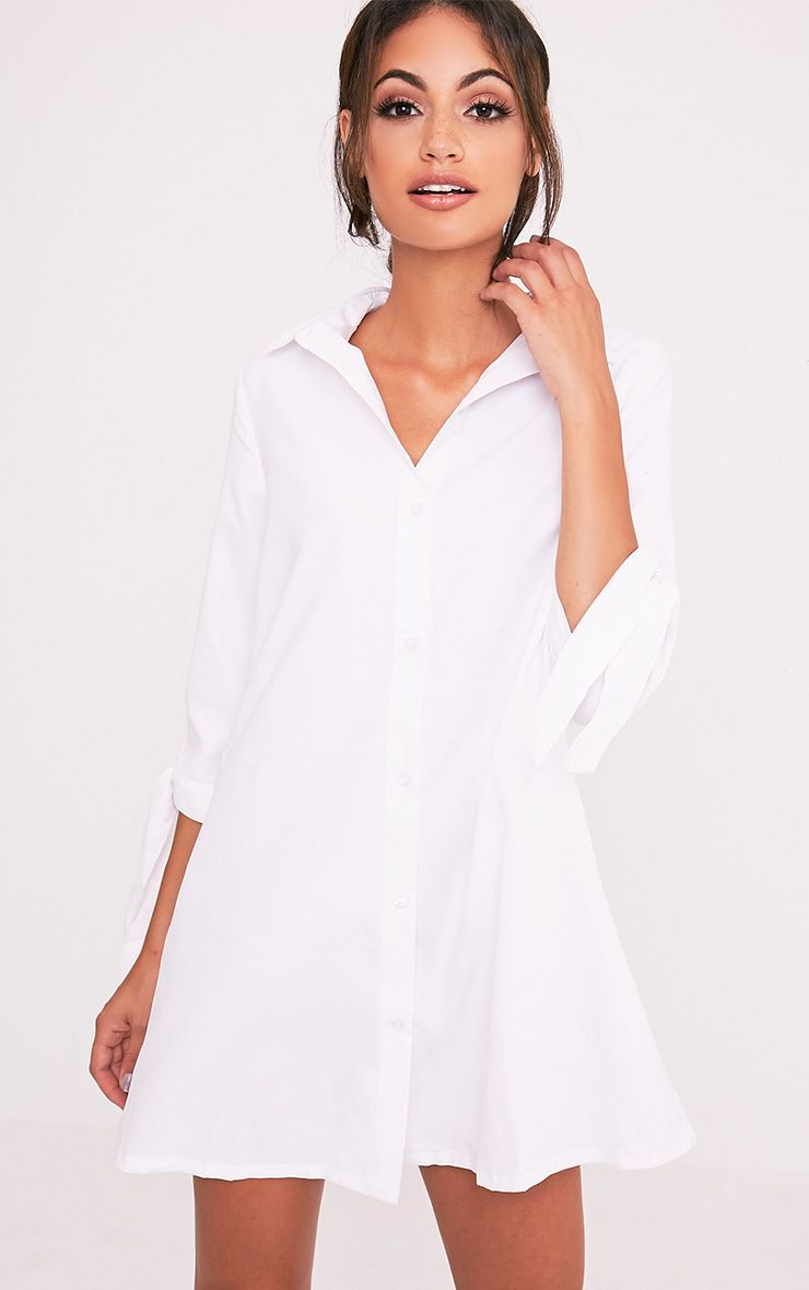 Maysia White  Cuff Detail Shirt Dress 1