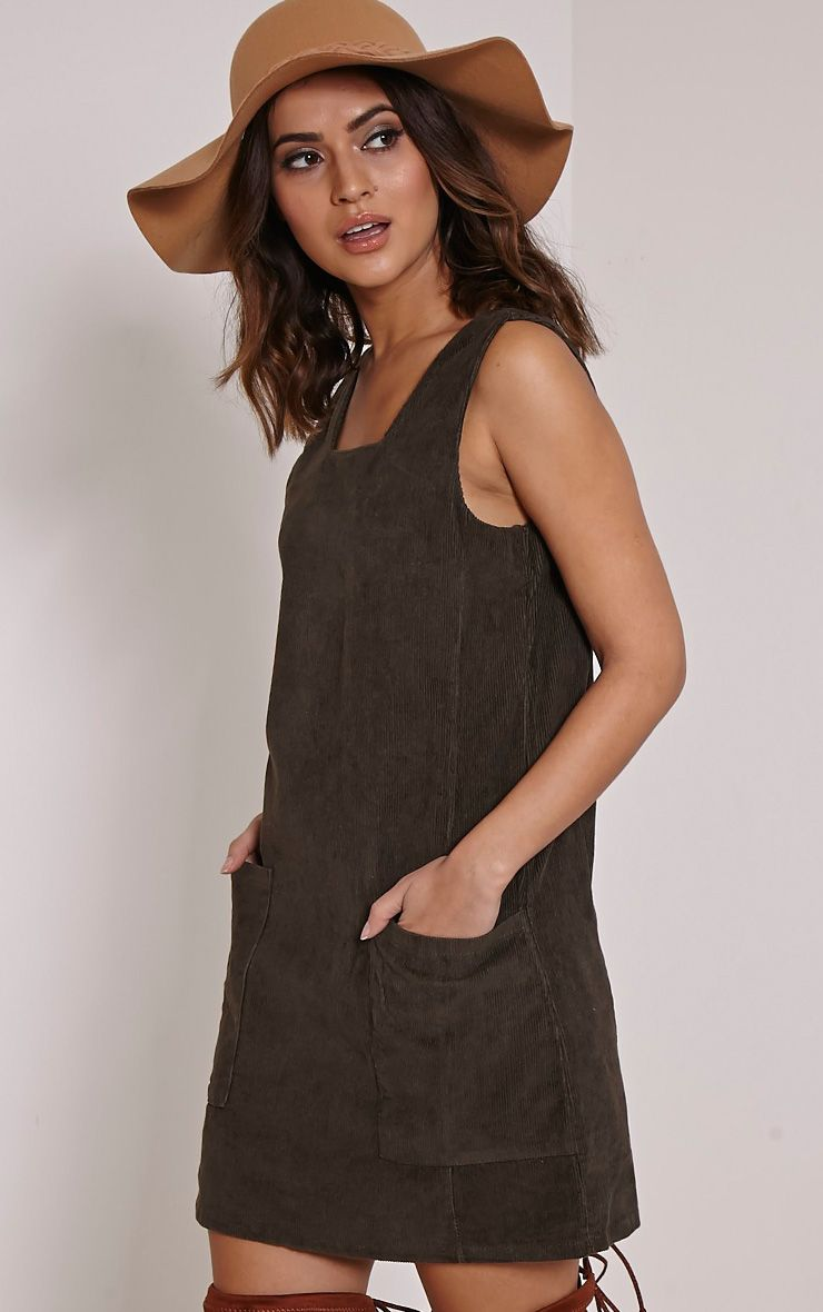 Staci Khaki Cord Pinafore Dress 1