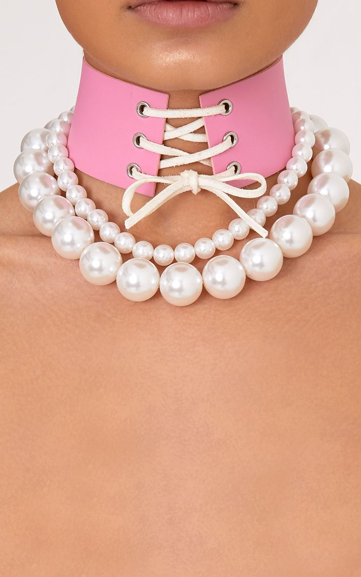 Relayna Two Pack Pink & Pearl Chokers