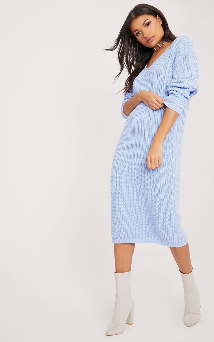 Breeze Blue V Neck Oversized Knitted Dress