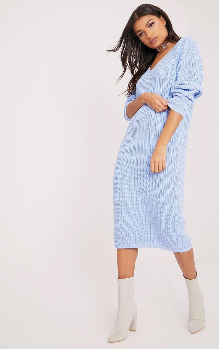 Breeze Blue V Neck Oversized Knitted Dress 1