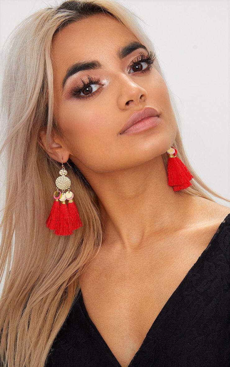 Red Sequin Tassel Earrings