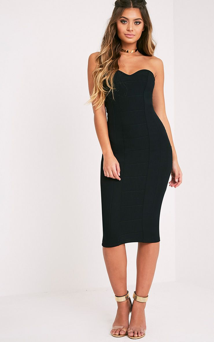 Kayalla Black Bandage Bandeau Midi Dress