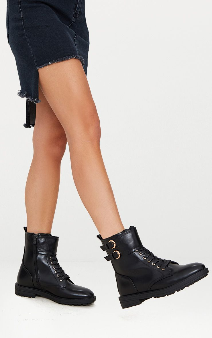 Black Ankle Buckle Hiker Boot