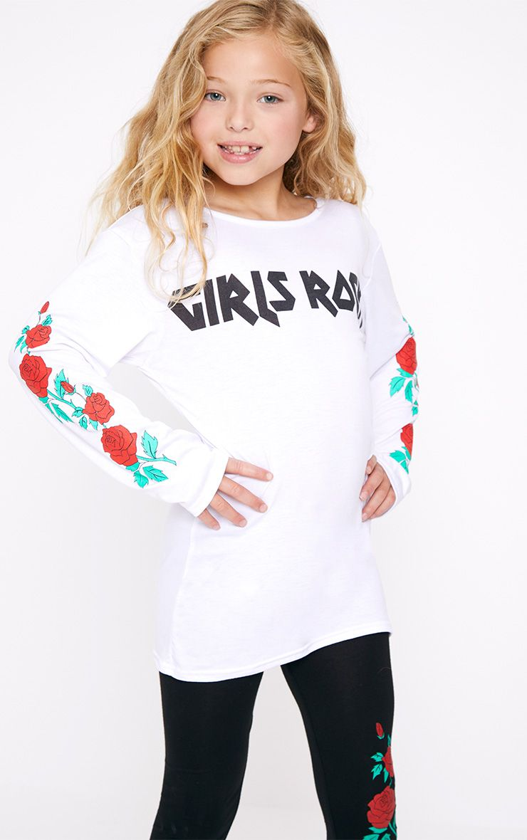 Girls Rock Long Sleeved White T Shirt