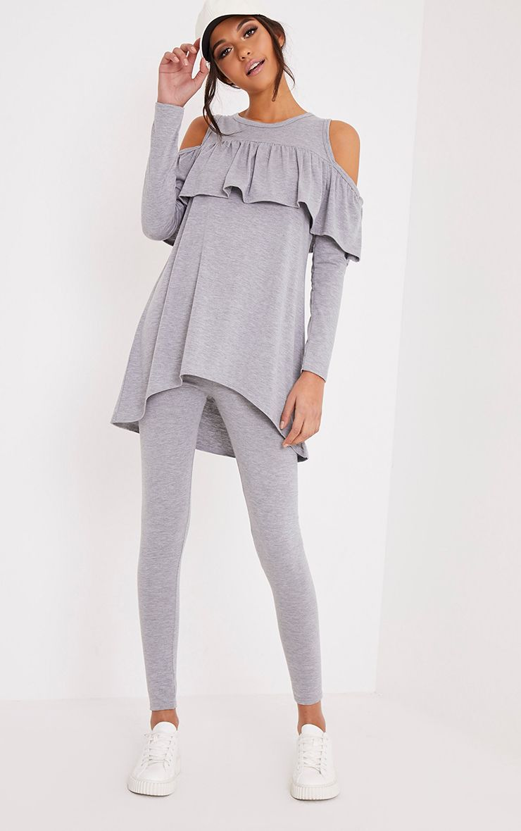 Lorelie Grey Cold Shoulder Frill top & Leggings Set