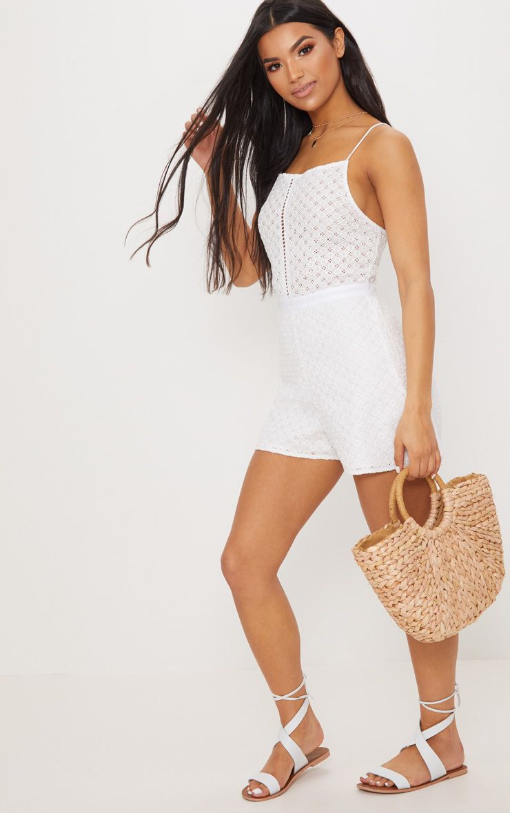 White Broderie anglaise Straight Neck Playsuit