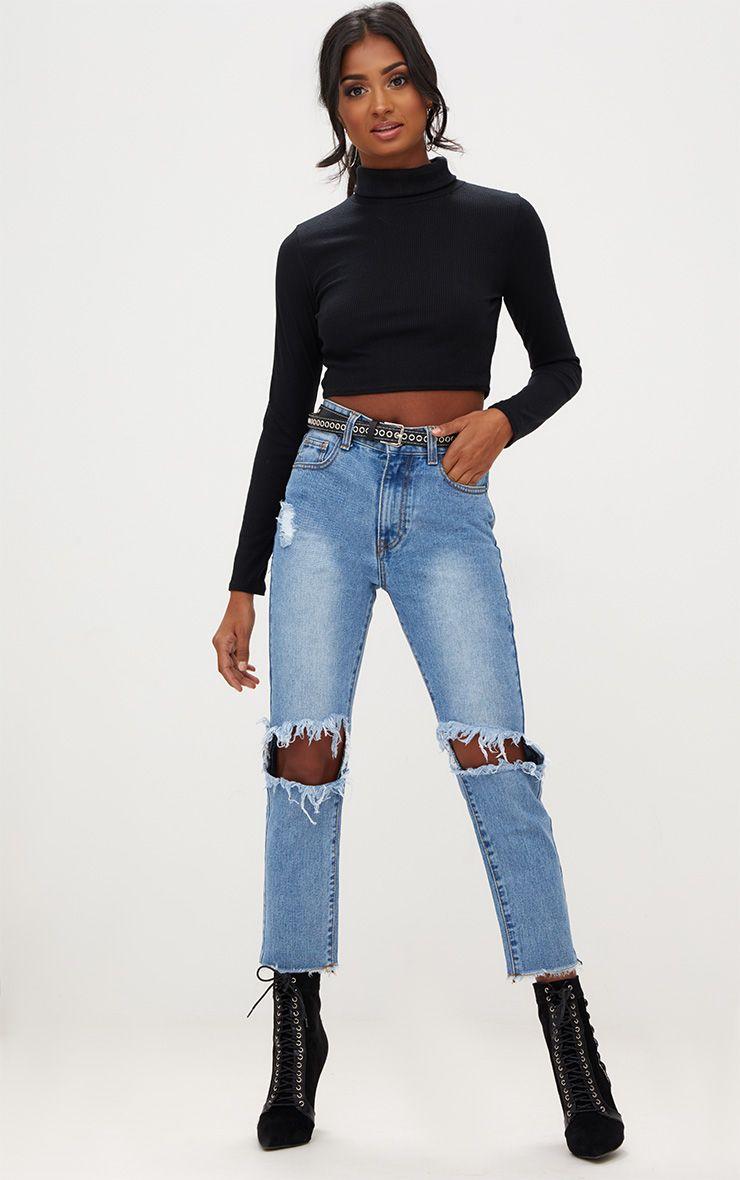 Mid Wash Open Knee Slim Fit Jean