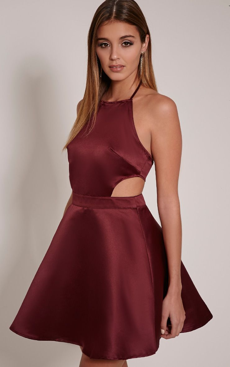Darrah Plum High Neck Satin Skater Dress 1