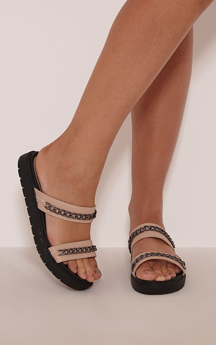 Bobbie Taupe Chain Detail Sliders 1