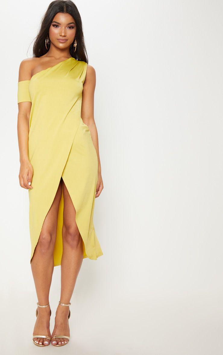 Lime Slinky One Shoulder Wrap Midi Dress Pretty Little Thing no7etN