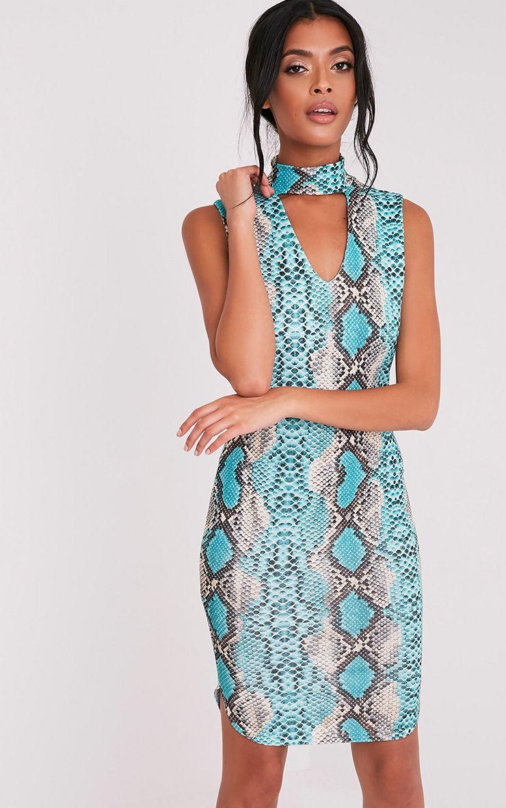 Harria Turquoise Snake Print Choker Detail Bodycon Dress 1
