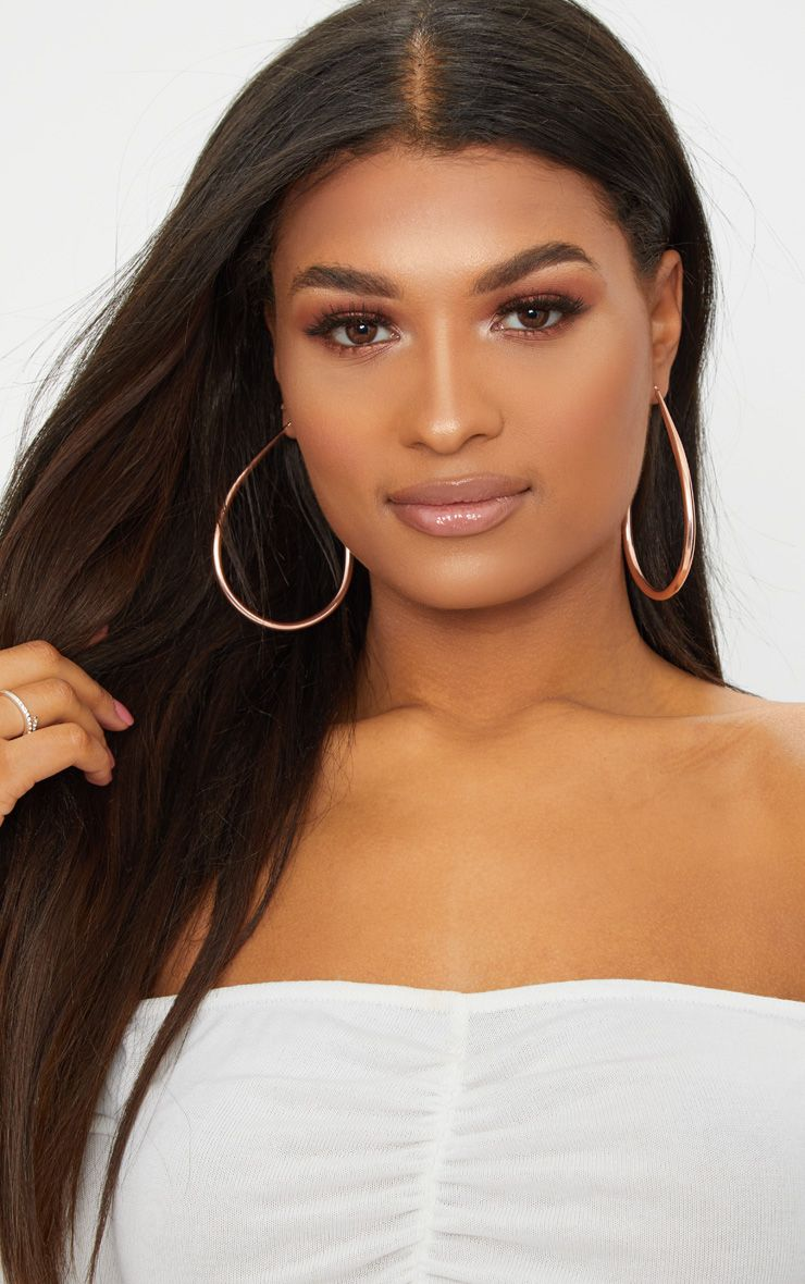 Rose Gold Oversized Teardrop Hoop Earrings