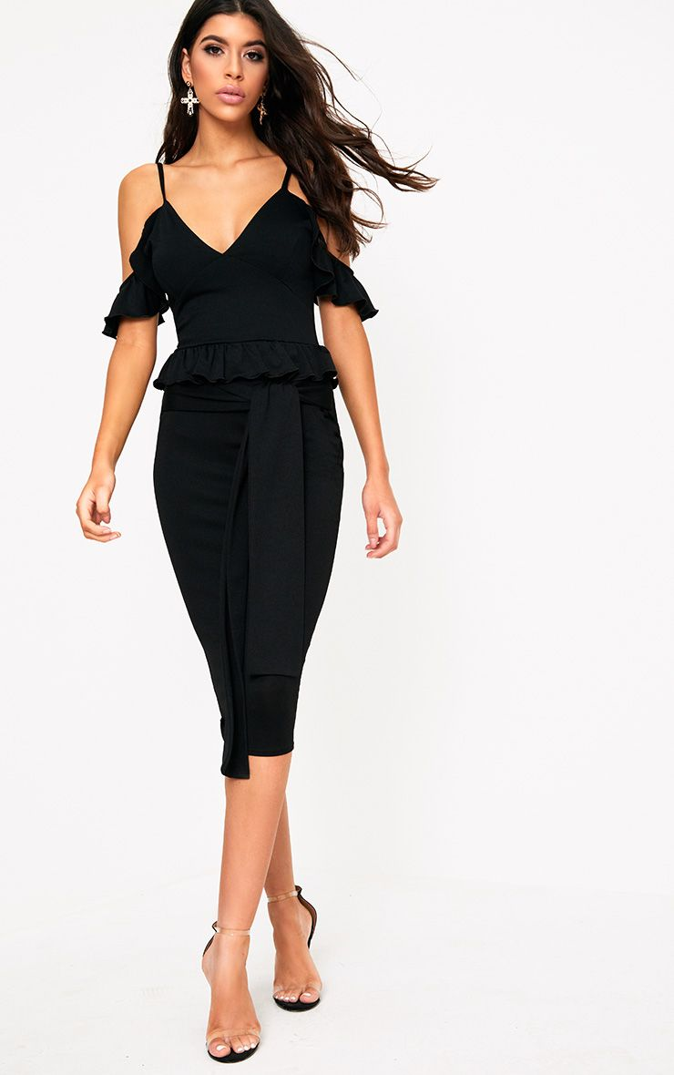 Black Cold Shoulder Paper Bag Waist Midi Dress