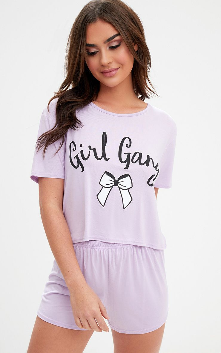 Lilac Girl Gang Bow Detail PJ Set