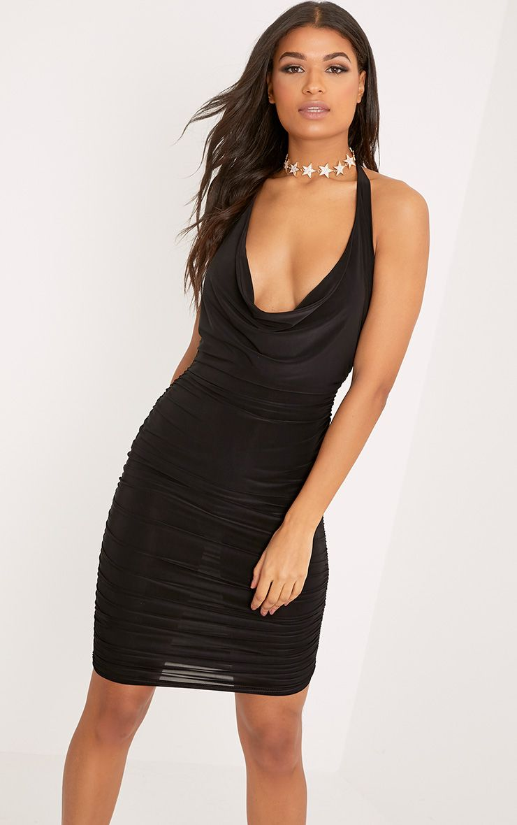 Haydan Black Slinky Cowl Neck Midi Dress