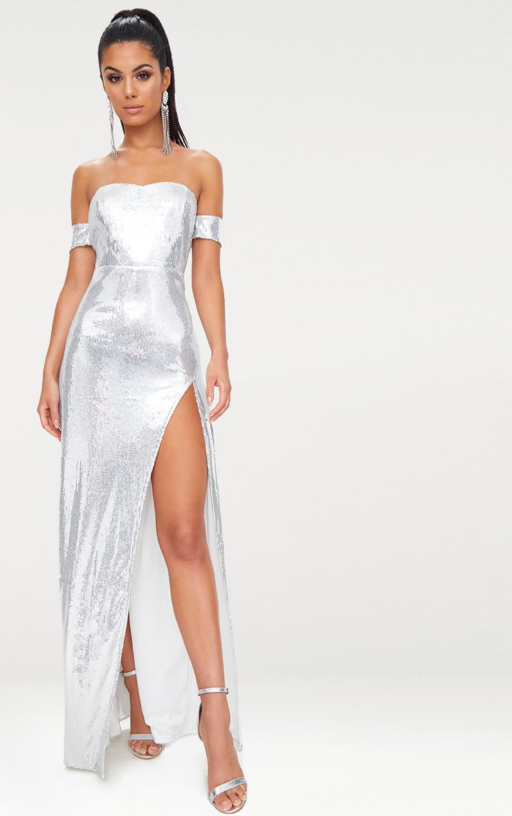Silver Sequin Bardot Maxi Dress  1