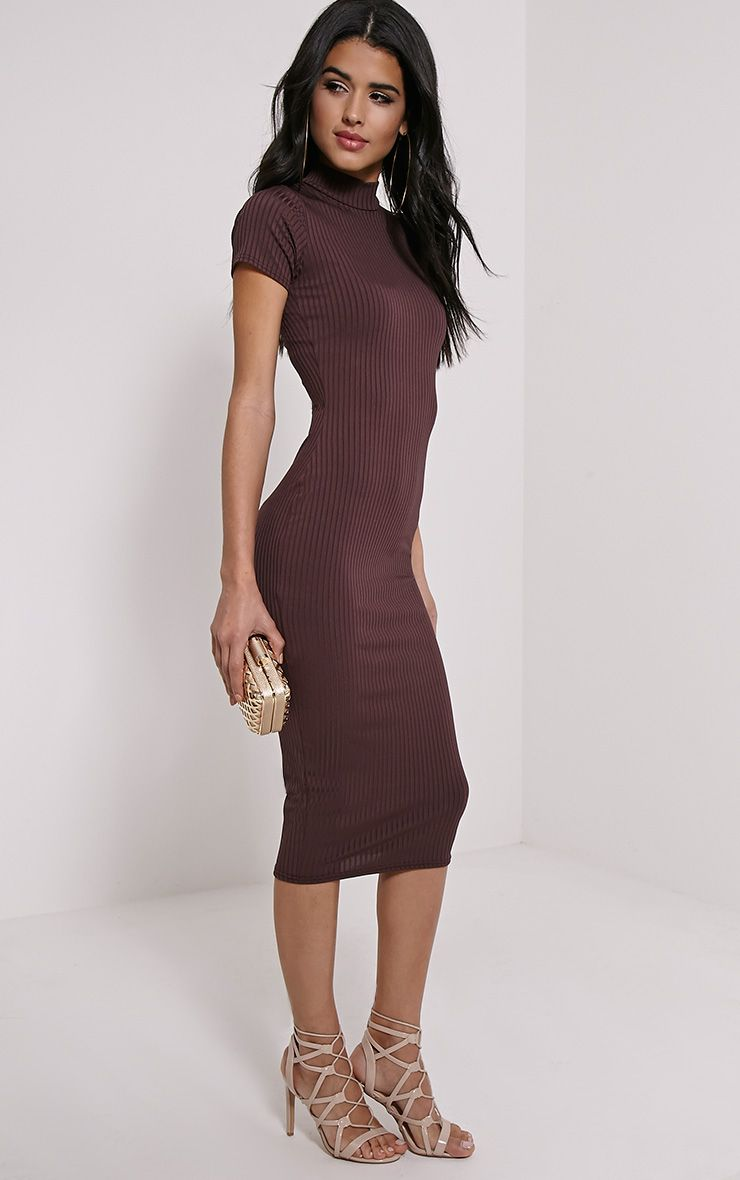 Ebanie Brown High Neck Ribbed Midi Dress 1