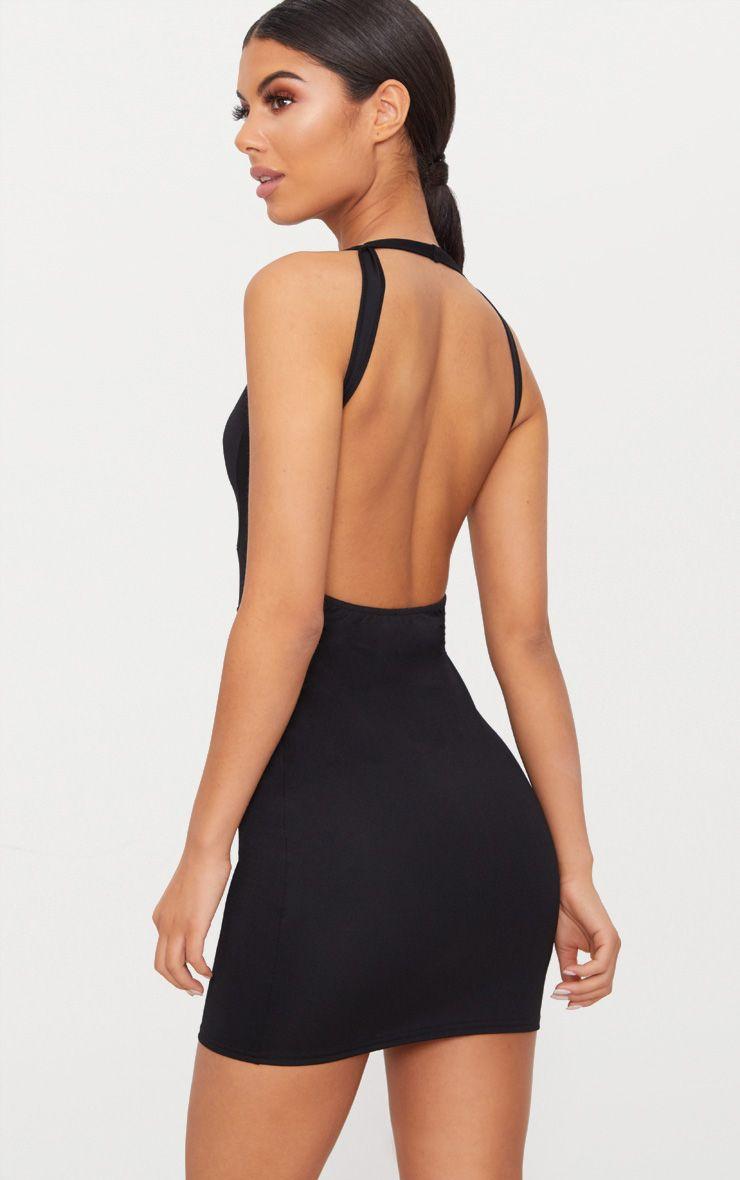 Black Halterneck Strap Detail Bodycon Dress 1