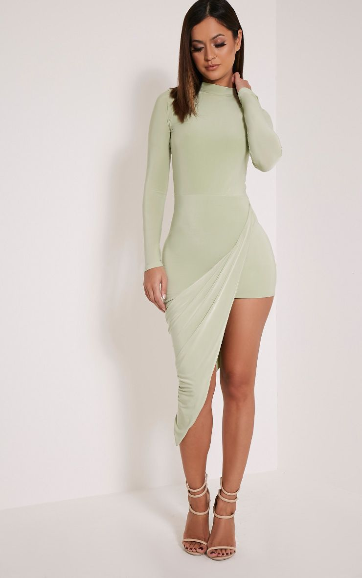 Saffy Sage Green Slinky Drape Asymmetric Dress 1