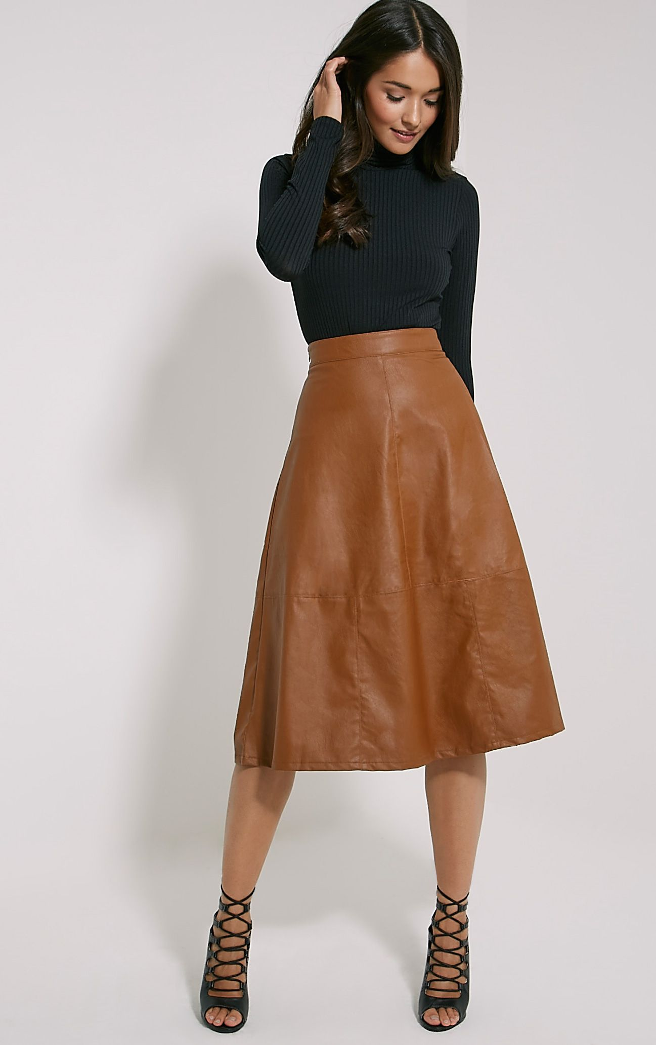 Alison Tan Faux Leather A-Line Midi Skirt 1