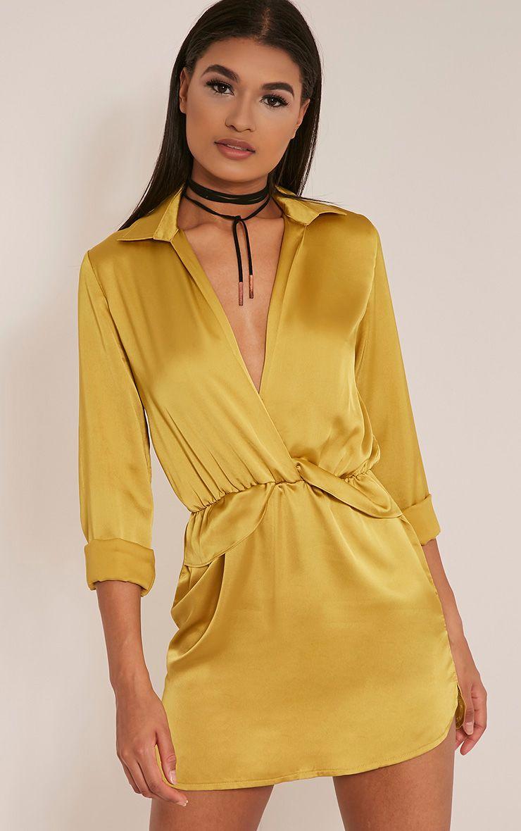 Katalea Dark Lime Twist Front Silky Shirt Dress