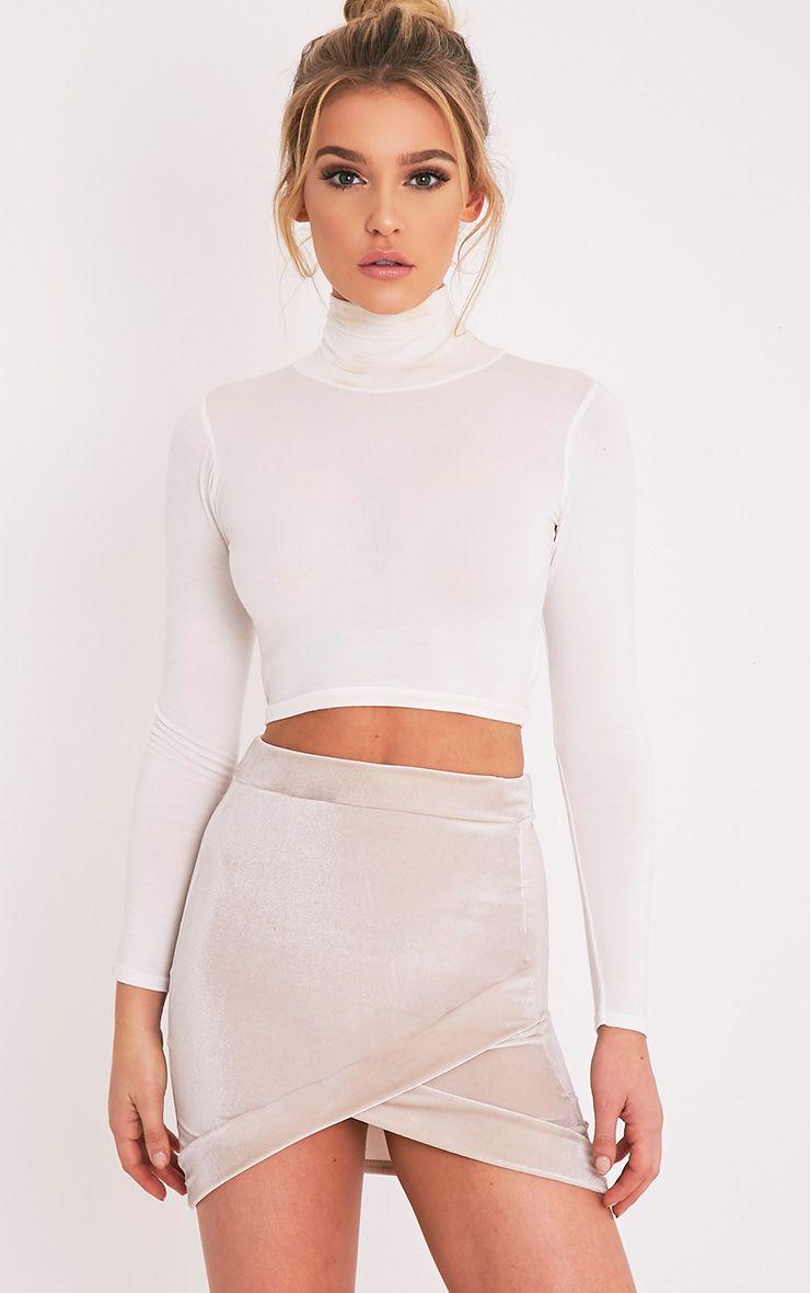 Gabriella Stone Velvet Asymmetric Mini Skirt 1