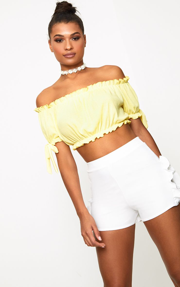 Lemon Bardot Bow Sleeve Jersey Crop Top