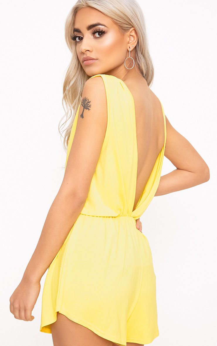 Braylee Yellow Basic Black Playsuit