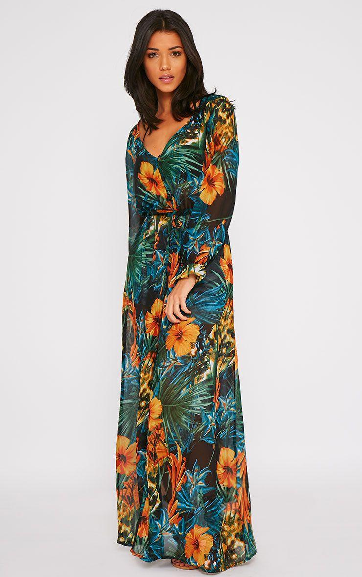Faith Black Floral Print Button Front Maxi Dress 1
