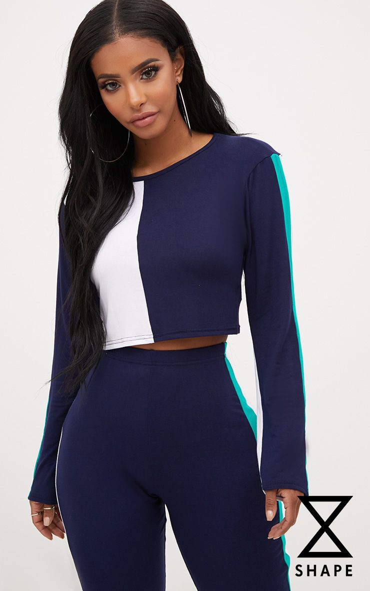 Shape Navy/Green Stripe Side Crop Top