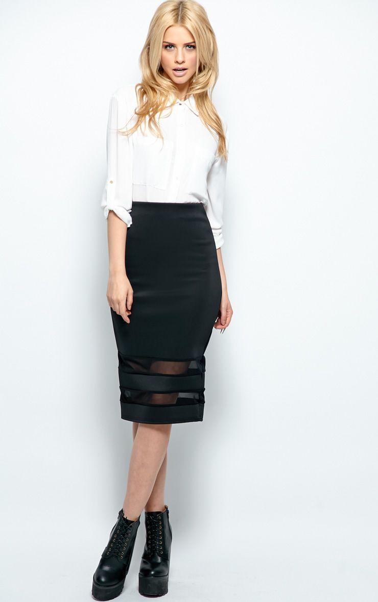 Cassandra Black Mesh Panel Midi Skirt 1