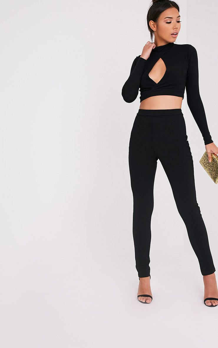 Calissa Black Crepe Cigarette Trousers 1
