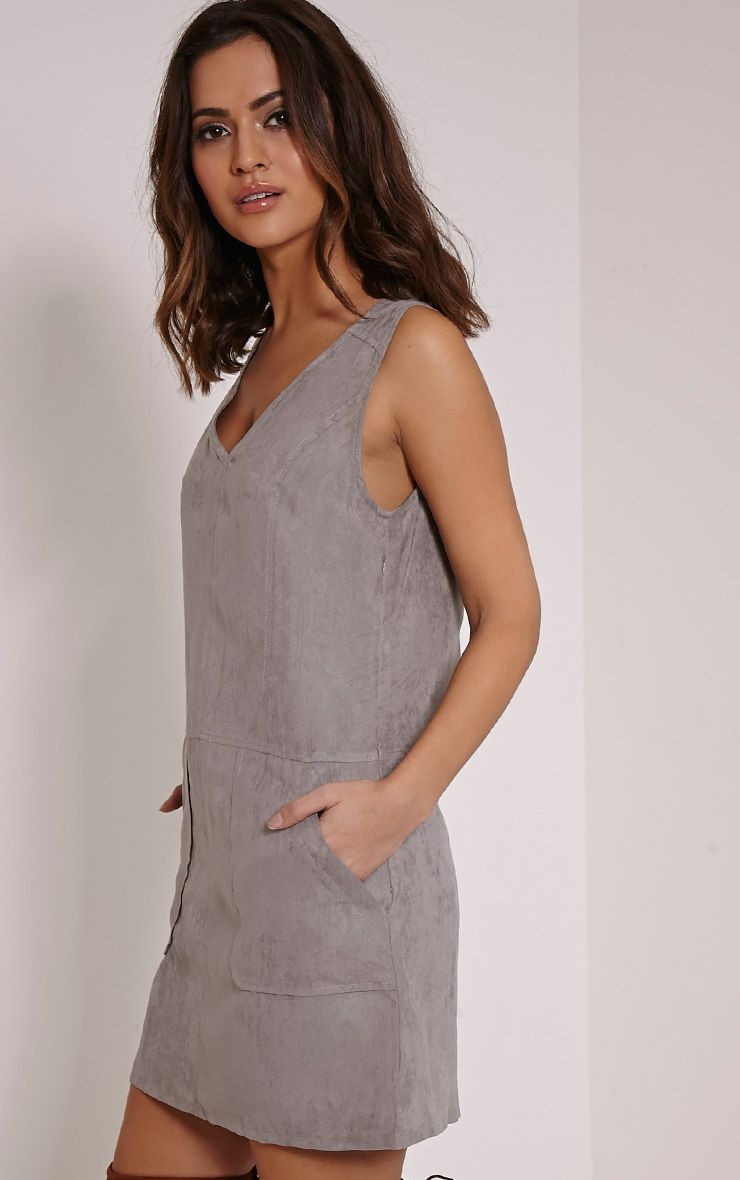 Amerie Grey Faux Suede A-Line Shift Dress 1