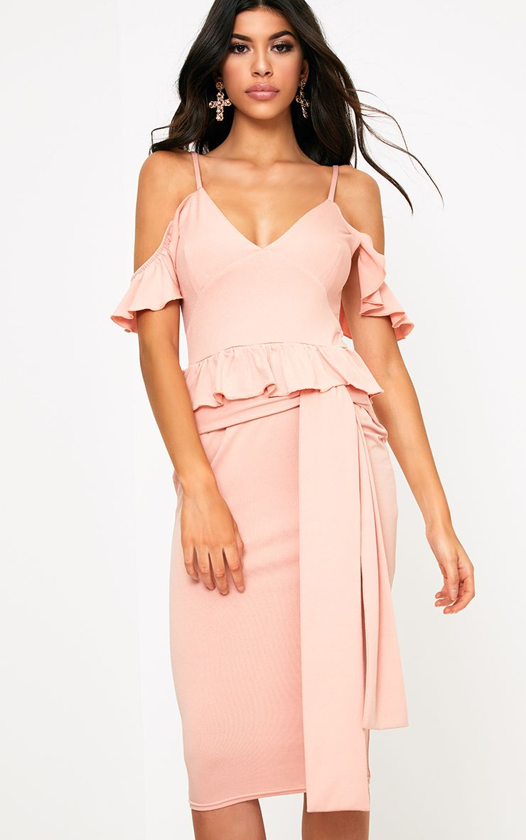 Dusty Pink Cold Shoulder Paper Bag Waist Midi Dress