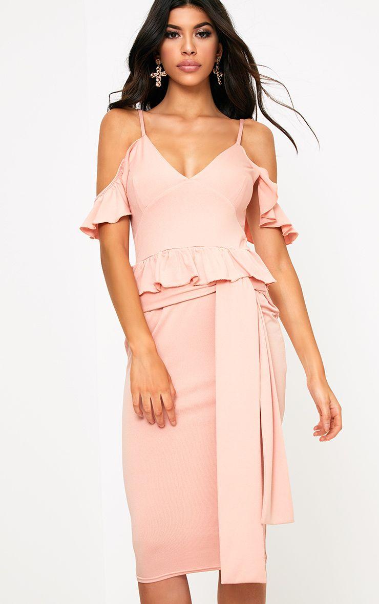 Dusty Pink Cold Shoulder Paper Bag Waist Midi Dress