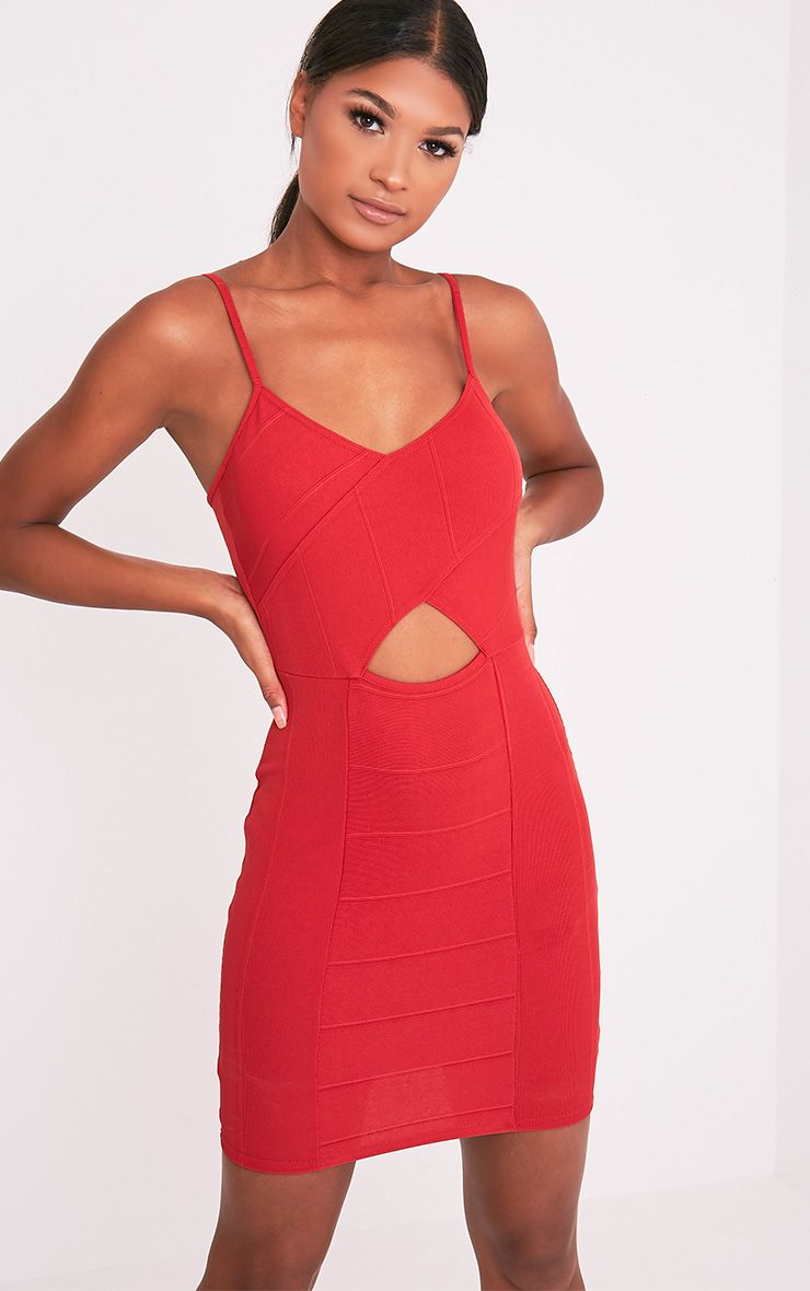 Sasia Red Cross Front Bandage Mini Dress 1
