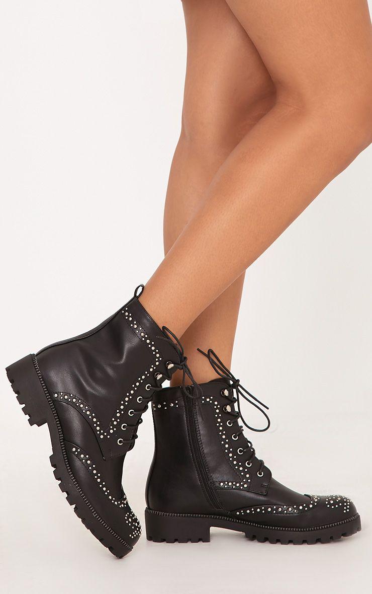 Maura Black Studded Biker Boots