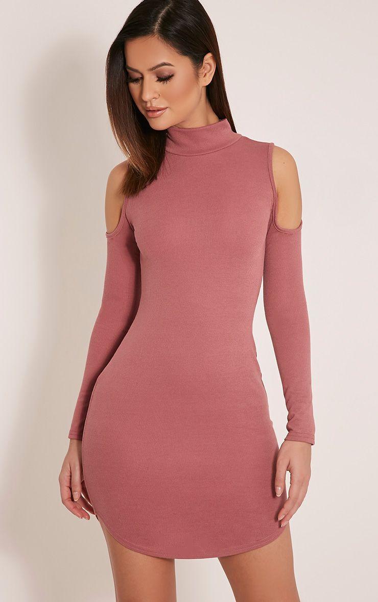 Renny Rose Ribbed Cold Shoulder Dress 1