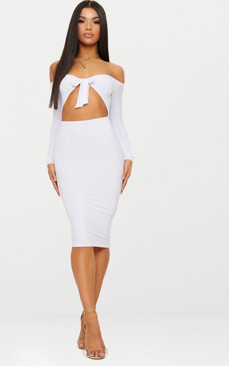 White Double Layer Slinky Tie Detail Bardot Midi Dress