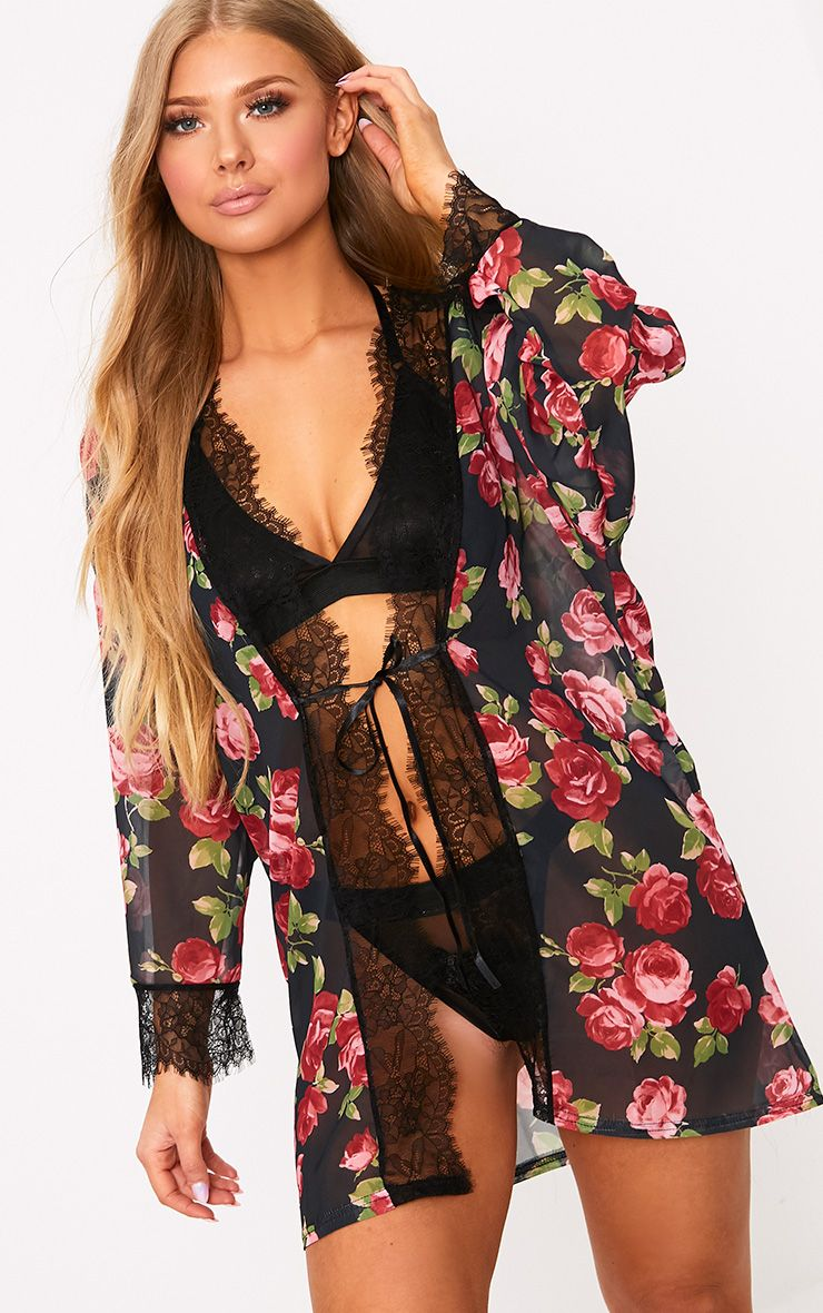 Hazel Black Rose Print Chiffon Short Robe