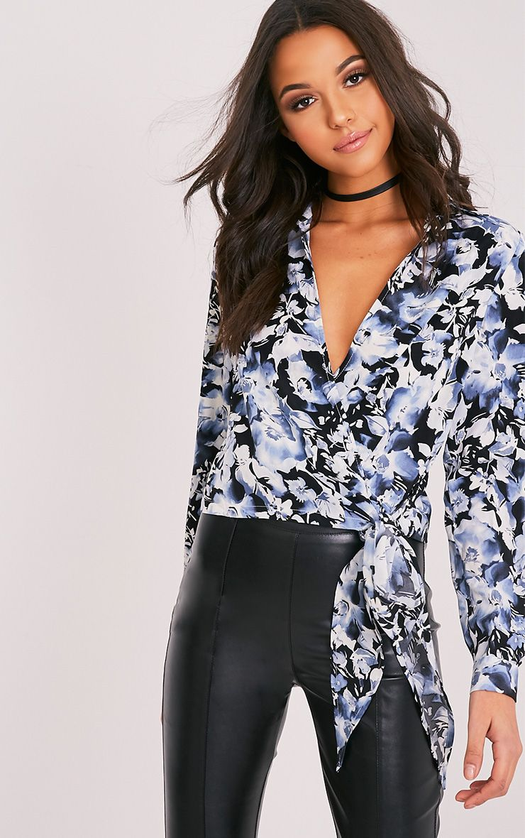 Avalyn Blue Floral Print Wrap Front Tie Side Blouse