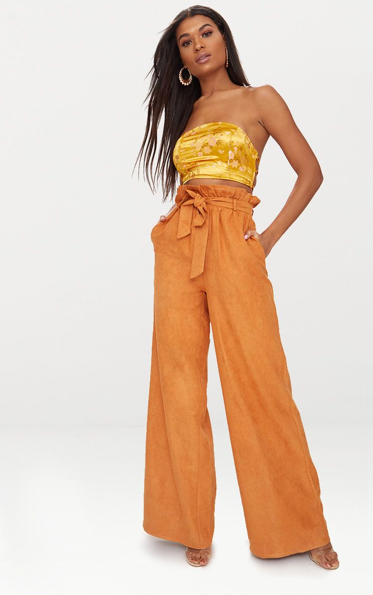 Tan Faux Suede Paperbag Wide Leg Trousers