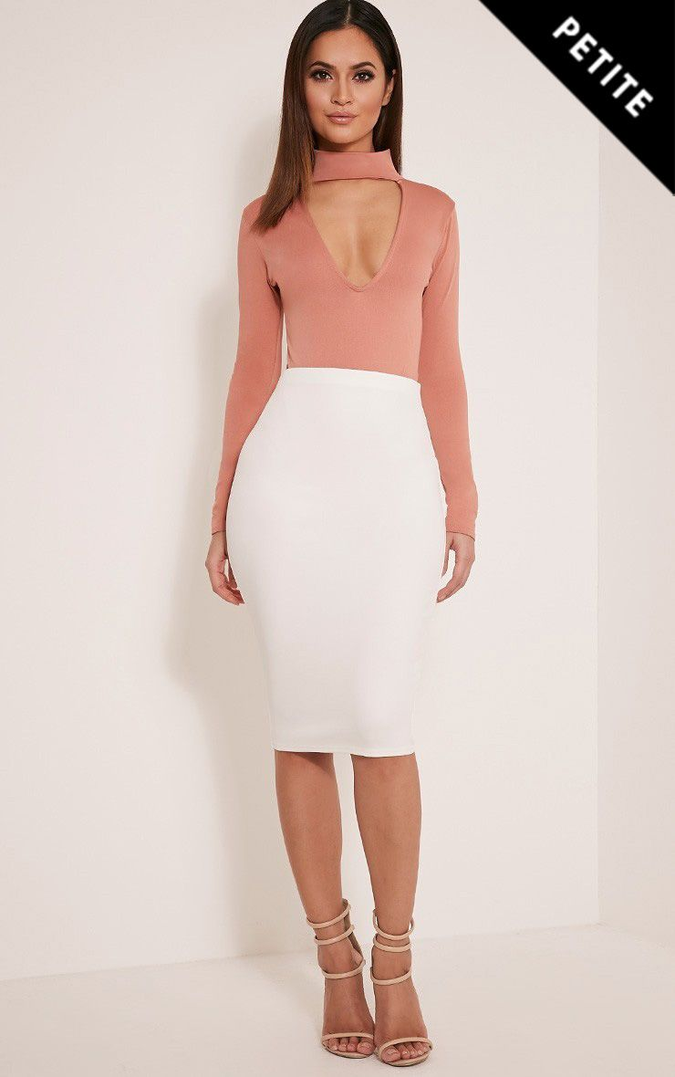 Petite Winnie Cream Scuba Midi Skirt